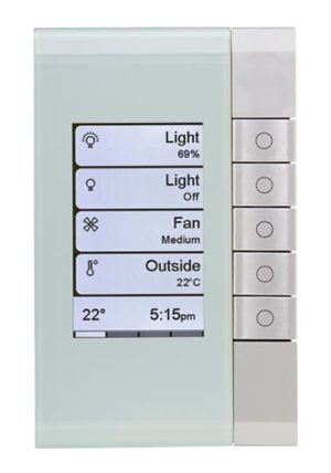 Clipsal C-Bus eDLT Wall Switch, Saturn Style, 5 Button, Colour: Ocean Mist