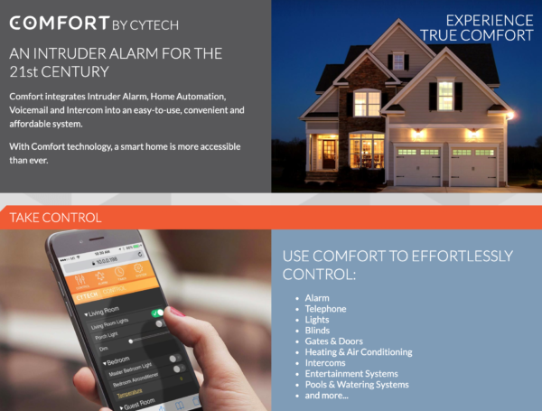 cytech comfort security and home automation